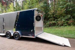 Rear Door with Spoiler and Spare Mount of Explorer Snow 7.5' Wide Tandem Axle Snow/ATV Trailer