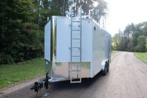 Front of Flat Top V Nose 8' Wide Trailer with Contractor Package