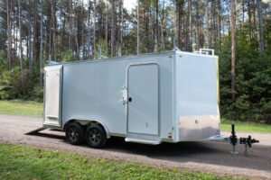 Side View of Flat Top V Nose 8' Wide Trailer with Contractor Package