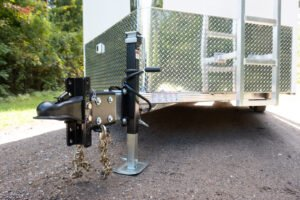 Coupler Jack and Tongue of Flat Top V Nose 8' Wide Trailer with Contractor Package