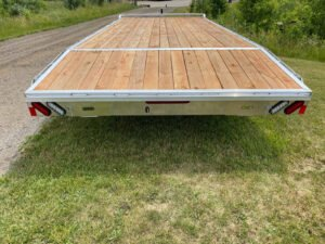Rear view of Legend's General Duty Aluminum Deck Over trailer