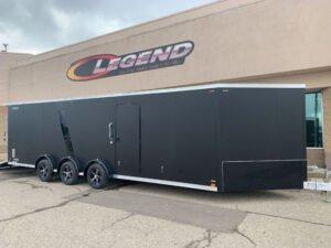matte black with black trim options on Legend triple axle cargo trailer