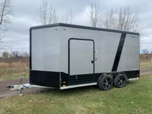 custom black trim options on popular cargo trailer