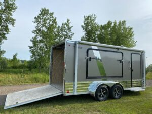 Awning closed in Legend's enclosed cargo trailer relax package
