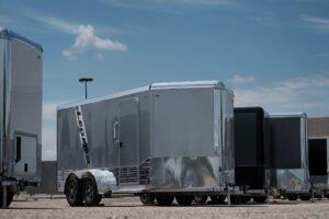 silver door frame custom exterior options for Legend cargo and sport trailer