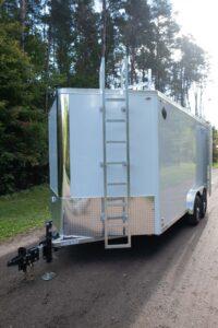 Fixed Aluminum Ladder on Legend Flat Top V Enclosed Cargo Trailer