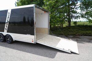 Rear ramp door open on Deluxe Snow legend enclosed aluminum trailer