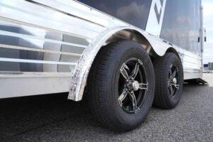Standard aluminum wheels on Deluxe snow enclosed aluminum trailer